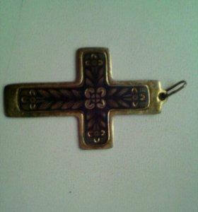 Подвеска крест серебро позолоченое