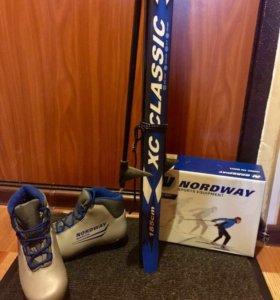 Комплект: лыжи, ботинки, палки