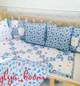 Бортики в детскую кроватку и лоскутное одеяло