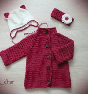 кардиган детский + шапочка с повязкой