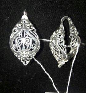 Новомодные серебряные кружевные серьги