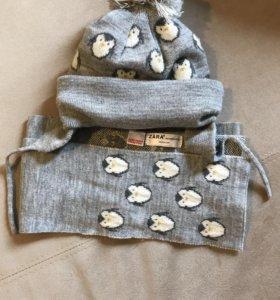 Тёплый комплект шапка с шарфом Zara Kids
