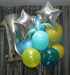Гелиевые шары. Фольгированные цифры, звезды,сердца
