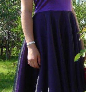 Платье фиолетовое атласное
