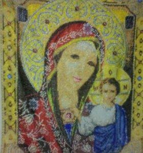 Икона Казанской Божьей Матери.Вышитая бисером.