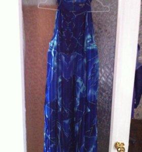 Платье плиссе синие новое