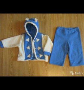 Костюмчик теплый кофта с пуговицами и штаны