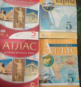 Атлас 5 класс география и история, контурные карты