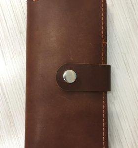 Кошелёк (портмоне) из натуральной кожи ручной рабо