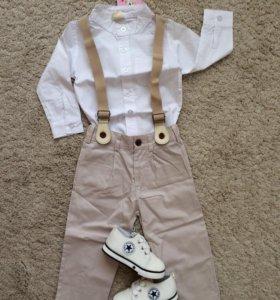 Рубашка+брюки комплект на 80-86 с подтяжкам