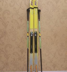 Детские лыжи+палки