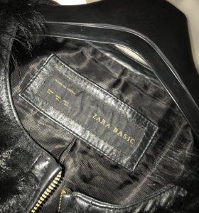 Кожанная куртка с натуральным мехом