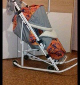 Санки-коляска с колесами