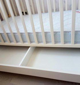 Детская кроватка 125*65 papaloni джованни и матрас