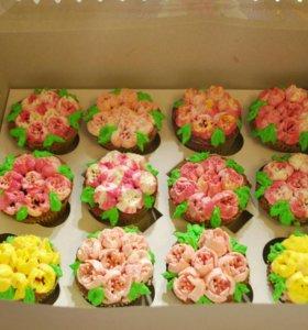 Вкуснейшие цветочные капкейки