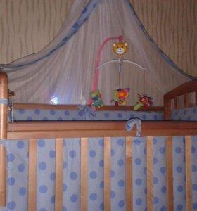 Детская кроватка(матрас+ бортики+ балдахин)