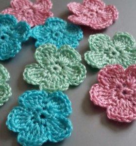 Вязаные цветочки для скрапбукинга