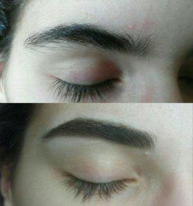 Коррекция и окраска бровей,макияж, чистка лица,