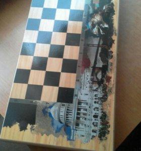 2 в 1 нарды-шахматы.ручная работа.дерево.