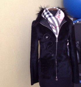 Пиджак из натуральной кожи , сверху стриженый мех