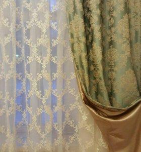 Новый комплект шторы тюль