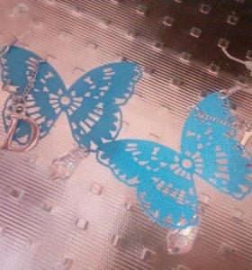 """Серьги """"бабочки"""" и браслет"""