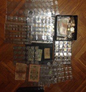 Коллекция монет и банкнот, около 2000 шт.