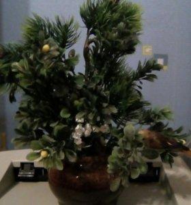 Вазочка декоративная с елью