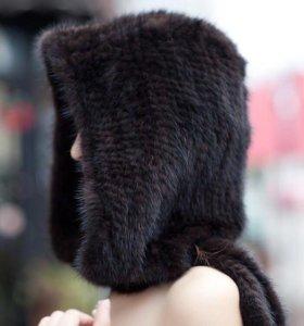 Капоры из вязаной норки коричневые новые