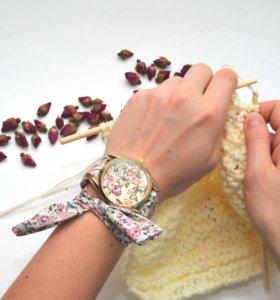 Часы женские Geneva с тканевым ремешком!