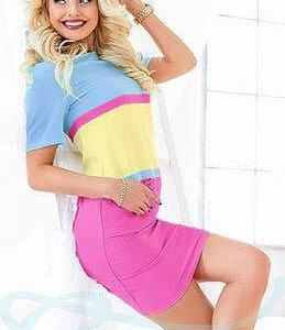 Новое платье 42-44. Цвет -голубой,розовый,желтый
