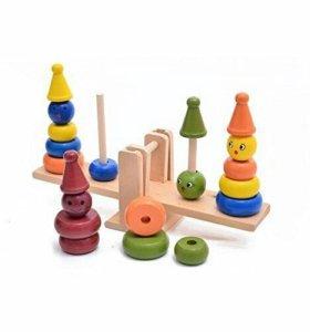 игрушка деревянная пирамидка весы
