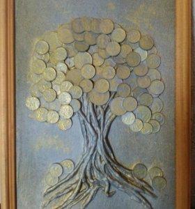 """Панно """" денежное дерево."""""""