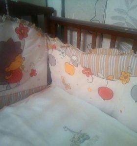 Срочно! Кроватка детская + мягкие бортики
