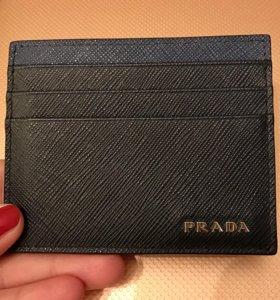Кардхолдер визитница Prada, оригинал, черно-синий