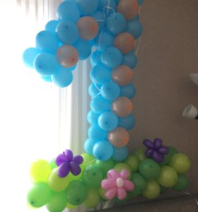 Цифра 1 (один) из шариков на день рождения,праздик