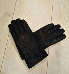 Кожаные перчатки, теплые