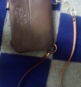 Маленькая коричневая сумка кошклек