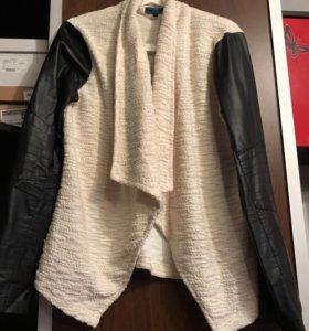 Кардиган с кожаными рукавами