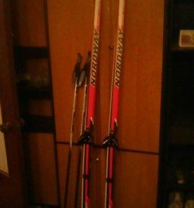 Лыжи190см с креплениями и палки140см