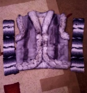 Комплект жилет, перчатки на 9-11 лет