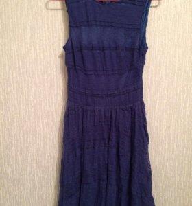 Летнее платье синего цвета