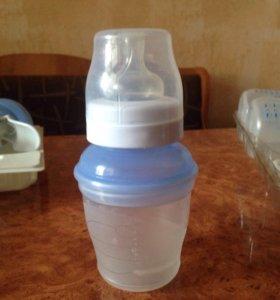 Молокоотсос ручной+ три бутылочки Авент