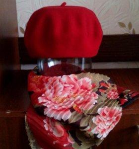 Фетровый берет, шифоновый шарф