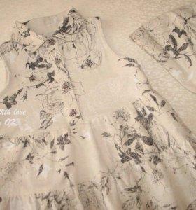 Платье и косынка  для девочки 98-104 ткань полулен