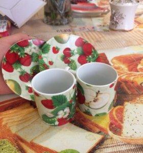 Кофейная пара(2чашечки+2тарелочки)