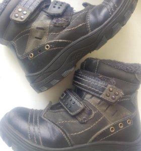 Кожа ботинки мех