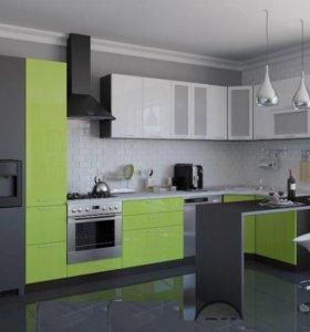 Кухня белый/салатовый