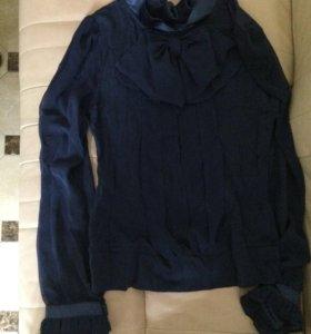 Блузка цвет индиго с шифоновыми вставками