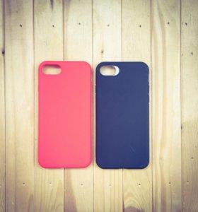 Силиконовый чехол на iPhone 7 red и black matte